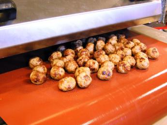 Meat balls food grilling with CHEMFAB ptfe coated non-stick release belt and release sheets