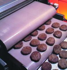 Burgers cooked with CHEMFAB ptfe coated fiberglass process belts