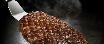 Burgers grilled on a CHEMFAB ptfe coated non-stick grill release sheet